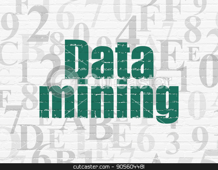 Information concept: Data Mining on wall background stock photo, Information concept: Painted green text Data Mining on White Brick wall background with  Hexadecimal Code by mkabakov