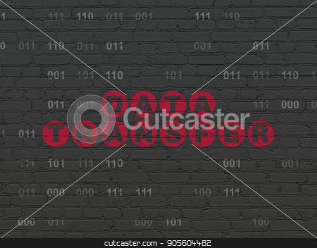 Data concept: Data Transfer on wall background stock photo, Data concept: Painted red text Data Transfer on Black Brick wall background with Binary Code by mkabakov