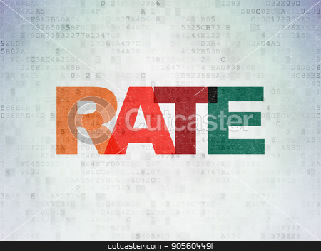 Money concept: Rate on Digital Data Paper background stock photo, Money concept: Painted multicolor text Rate on Digital Data Paper background by mkabakov