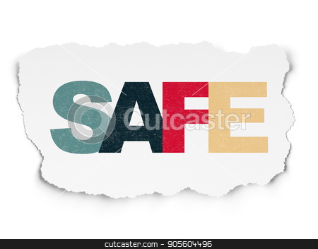 Protection concept: Safe on Torn Paper background stock photo, Protection concept: Painted multicolor text Safe on Torn Paper background by mkabakov