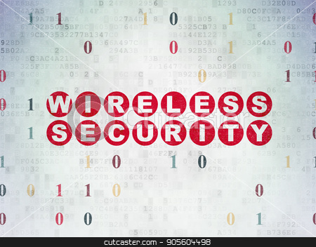 Security concept: Wireless Security on Digital Data Paper background stock photo, Security concept: Painted red text Wireless Security on Digital Data Paper background with Binary Code by mkabakov