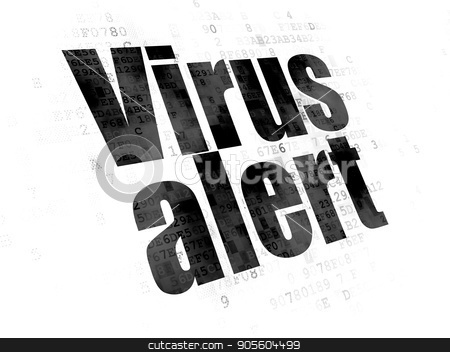 Privacy concept: Virus Alert on Digital background stock photo, Privacy concept: Pixelated black text Virus Alert on Digital background by mkabakov
