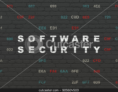 Security concept: Software Security on wall background stock photo, Security concept: Painted white text Software Security on Black Brick wall background with Hexadecimal Code by mkabakov