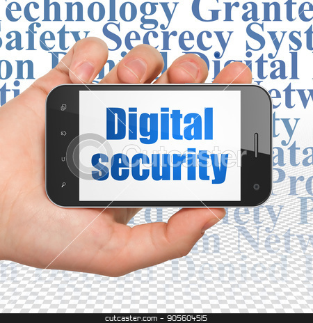 Security concept: Hand Holding Smartphone with Digital Security on display stock photo, Security concept: Hand Holding Smartphone with  blue text Digital Security on display,  Tag Cloud background, 3D rendering by mkabakov