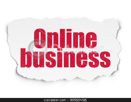 Finance concept: Online Business on Torn Paper background stock photo, Finance concept: Painted red text Online Business on Torn Paper background with Scheme Of Binary Code by mkabakov