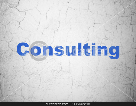 Business concept: Consulting on wall background stock photo, Business concept: Blue Consulting on textured concrete wall background by mkabakov