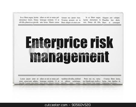 Business concept: newspaper headline Enterprice Risk Management stock photo, Business concept: newspaper headline Enterprice Risk Management on White background, 3D rendering by mkabakov