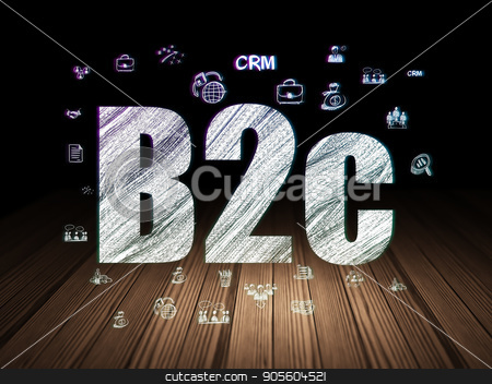 Business concept: B2c in grunge dark room stock photo, Business concept: Glowing text B2c,  Hand Drawn Business Icons in grunge dark room with Wooden Floor, black background by mkabakov