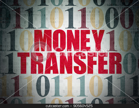 Finance concept: Money Transfer on Digital Data Paper background stock photo, Finance concept: Painted red text Money Transfer on Digital Data Paper background with Binary Code by mkabakov