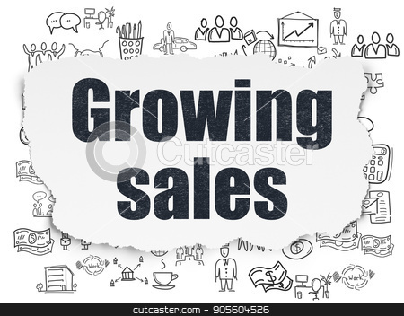 Business concept: Growing Sales on Torn Paper background stock photo, Business concept: Painted black text Growing Sales on Torn Paper background with  Hand Drawn Business Icons by mkabakov