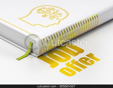Business concept: book Head With Finance Symbol, Job Offer on white background stock photo, Business concept: closed book with Gold Head With Finance Symbol icon and text Job Offer on floor, white background, 3D rendering by mkabakov