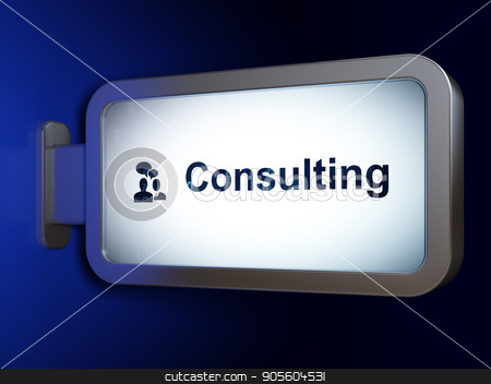 Finance concept: Consulting and Business Meeting on billboard background stock photo, Finance concept: Consulting and Business Meeting on advertising billboard background, 3D rendering by mkabakov