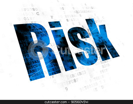 Business concept: Risk on Digital background stock photo, Business concept: Pixelated blue text Risk on Digital background by mkabakov