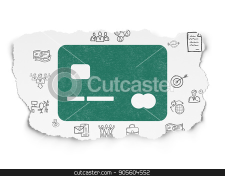 Business concept: Credit Card on Torn Paper background stock photo, Business concept: Painted green Credit Card icon on Torn Paper background with  Hand Drawn Business Icons by mkabakov