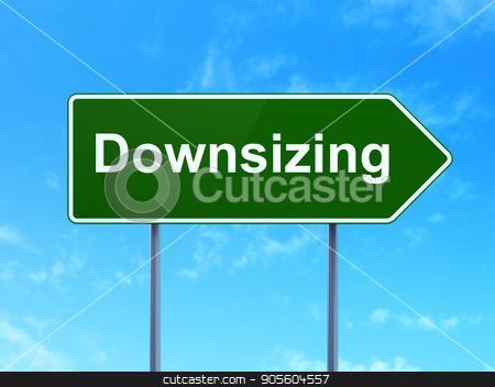 Business concept: Downsizing on road sign background stock photo, Business concept: Downsizing on green road highway sign, clear blue sky background, 3D rendering by mkabakov