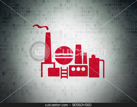 Business concept: Oil And Gas Indusry on Digital Data Paper background stock photo, Business concept: Painted red Oil And Gas Indusry icon on Digital Data Paper background by mkabakov