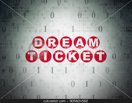 Business concept: Dream Ticket on Digital Data Paper background stock photo, Business concept: Painted red text Dream Ticket on Digital Data Paper background with Binary Code by mkabakov