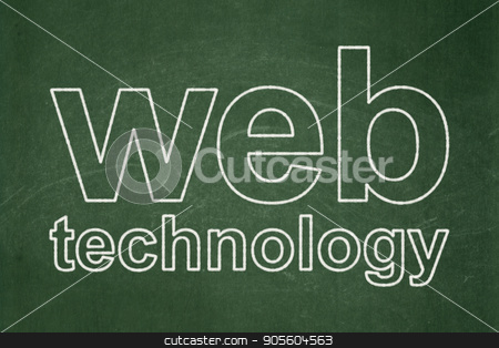 Web development concept: Web Technology on chalkboard background stock photo, Web development concept: text Web Technology on Green chalkboard background by mkabakov