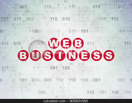 Web design concept: Web Business on Digital Data Paper background stock photo, Web design concept: Painted red text Web Business on Digital Data Paper background with Binary Code by mkabakov