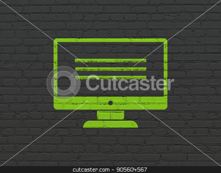Web design concept: Monitor on wall background stock photo, Web design concept: Painted green Monitor icon on Black Brick wall background by mkabakov