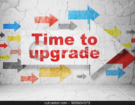 Time concept: arrow with Time To Upgrade on grunge wall background stock photo, Time concept:  arrow with Time To Upgrade on grunge textured concrete wall background, 3D rendering by mkabakov