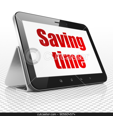 Timeline concept: Tablet Computer with Saving Time on display stock photo, Timeline concept: Tablet Computer with red text Saving Time on display, 3D rendering by mkabakov