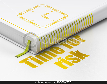 Timeline concept: book Watch, Time For Risk on white background stock photo, Timeline concept: closed book with Gold Watch icon and text Time For Risk on floor, white background, 3D rendering by mkabakov