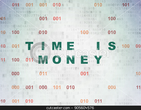 Timeline concept: Time is Money on Digital Data Paper background stock photo, Timeline concept: Painted green text Time is Money on Digital Data Paper background with Binary Code by mkabakov
