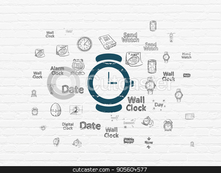 Timeline concept: Hand Watch on wall background stock photo, Timeline concept: Painted blue Hand Watch icon on White Brick wall background with  Hand Drawing Time Icons by mkabakov