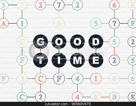 Timeline concept: Good Time on wall background stock photo, Timeline concept: Painted black text Good Time on White Brick wall background with Hexadecimal Code by mkabakov