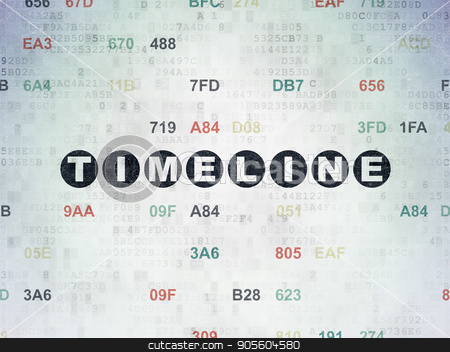 Time concept: Timeline on Digital Data Paper background stock photo, Time concept: Painted black text Timeline on Digital Data Paper background with Hexadecimal Code by mkabakov