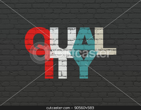 Advertising concept: Quality on wall background stock photo, Advertising concept: Painted multicolor text Quality on Black Brick wall background by mkabakov