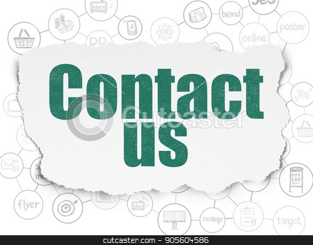 Marketing concept: Contact Us on Torn Paper background stock photo, Marketing concept: Painted green text Contact Us on Torn Paper background with Scheme Of Hand Drawn Marketing Icons by mkabakov