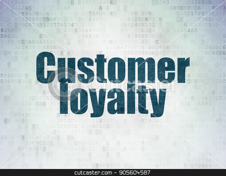 Marketing concept: Customer Loyalty on Digital Data Paper background stock photo, Marketing concept: Painted blue word Customer Loyalty on Digital Data Paper background by mkabakov