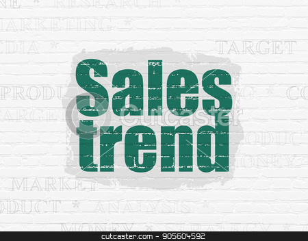 Advertising concept: Sales Trend on wall background stock photo, Advertising concept: Painted green text Sales Trend on White Brick wall background with  Tag Cloud by mkabakov