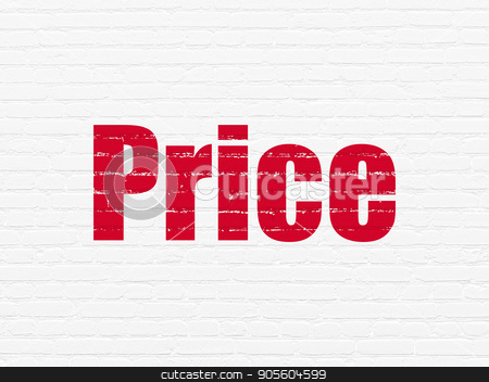Marketing concept: Price on wall background stock photo, Marketing concept: Painted red text Price on White Brick wall background by mkabakov