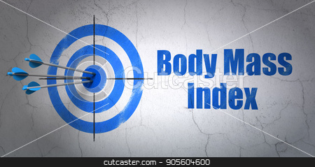 Healthcare concept: target and Body Mass Index on wall background stock photo, Success Healthcare concept: arrows hitting the center of target, Blue Body Mass Index on wall background, 3D rendering by mkabakov