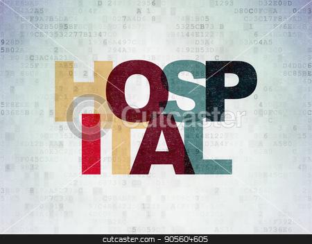 Healthcare concept: Hospital on Digital Data Paper background stock photo, Healthcare concept: Painted multicolor text Hospital on Digital Data Paper background by mkabakov