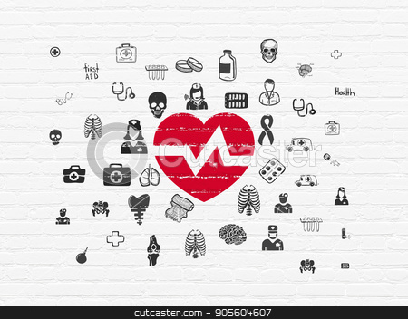 Medicine concept: Heart on wall background stock photo, Medicine concept: Painted red Heart icon on White Brick wall background with  Hand Drawn Medicine Icons by mkabakov