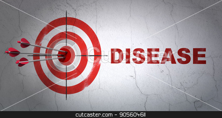 Healthcare concept: target and Disease on wall background stock photo, Success Healthcare concept: arrows hitting the center of target, Red Disease on wall background, 3D rendering by mkabakov
