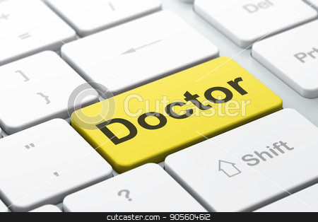 Healthcare concept: Doctor on computer keyboard background stock photo, Healthcare concept: computer keyboard with word Doctor, selected focus on enter button background, 3D rendering by mkabakov