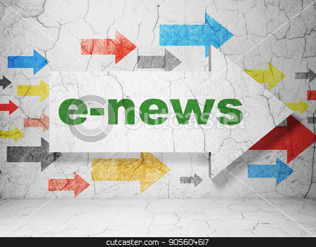 News concept: arrow with E-news on grunge wall background stock photo, News concept:  arrow with E-news on grunge textured concrete wall background, 3D rendering by mkabakov