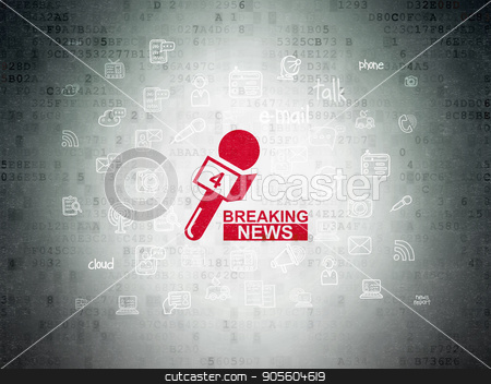 News concept: Breaking News And Microphone on Digital Data Paper background stock photo, News concept: Painted red Breaking News And Microphone icon on Digital Data Paper background with  Hand Drawn News Icons by mkabakov