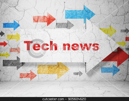 News concept: arrow with Tech News on grunge wall background stock photo, News concept:  arrow with Tech News on grunge textured concrete wall background, 3D rendering by mkabakov