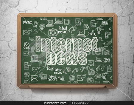 News concept: Internet News on School board background stock photo, News concept: Chalk White text Internet News on School board background with  Hand Drawn News Icons, 3D Rendering by mkabakov