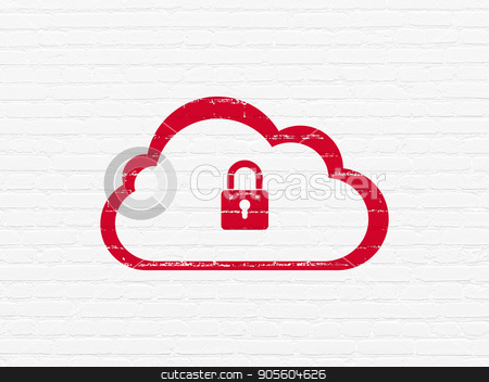 Cloud technology concept: Cloud With Padlock on wall background stock photo, Cloud technology concept: Painted red Cloud With Padlock icon on White Brick wall background by mkabakov