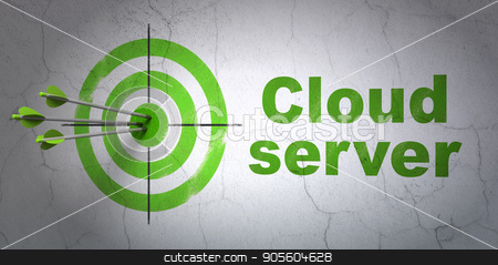 Cloud networking concept: target and Cloud Server on wall background stock photo, Success cloud networking concept: arrows hitting the center of target, Green Cloud Server on wall background, 3D rendering by mkabakov