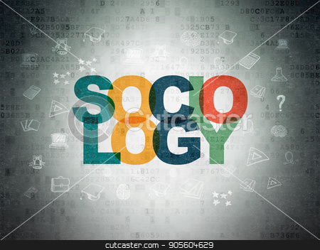 Learning concept: Sociology on Digital Data Paper background stock photo, Learning concept: Painted multicolor text Sociology on Digital Data Paper background with  Hand Drawn Education Icons by mkabakov