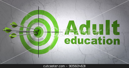 Education concept: target and Adult Education on wall background stock photo, Success Education concept: arrows hitting the center of target, Green Adult Education on wall background, 3D rendering by mkabakov