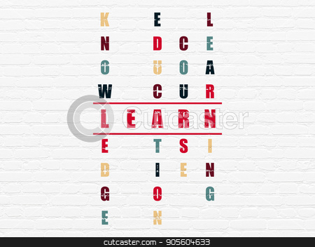 Studying concept: Learn in Crossword Puzzle stock photo, Studying concept: Painted red word Learn in solving Crossword Puzzle by mkabakov